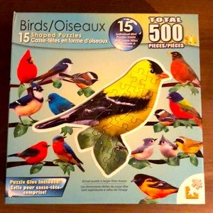 Birds 15 Shaped Puzzles - 500 pieces total